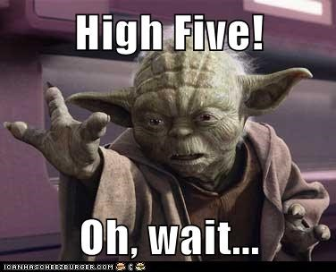 FAIL,fingers,high five,star wars,three,yoda