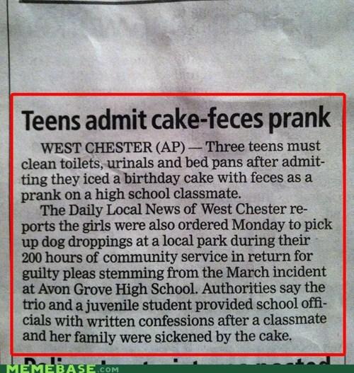 cake eww feces lie Memes prank - 5649342976