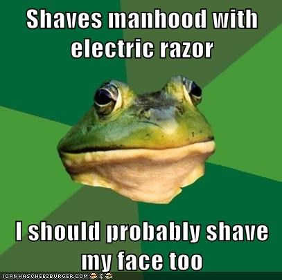 clean shaven,face,foul bachelor frog,manhood,no no tubes