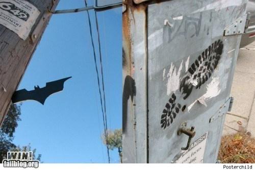 batarang batman graffiti hacked irl Street Art superheroes - 5649706496