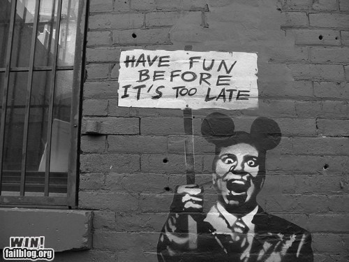 disney fun graffiti hacked irl mickey mouse satire Street Art - 5649869312