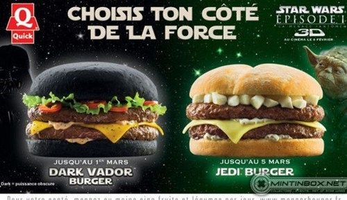 burgers,dark vador burger,darth vader,france,Jedi,movies,quick,sith,star wars