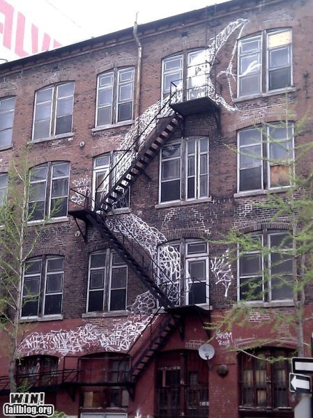 art graffiti hacked irl snake stair case stairs Street Art - 5650383104