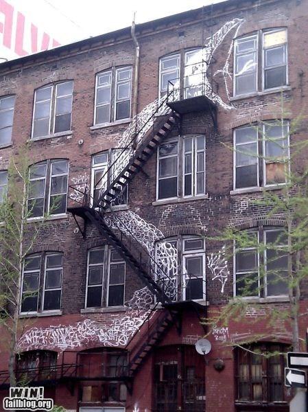 art graffiti hacked irl snake stair case stairs Street Art - 5650383104