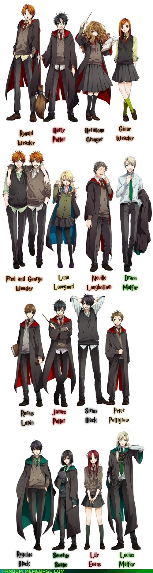 anime style best of week Fan Art Harry Potter weasleys