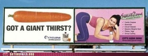 Ad billboard butts carrot in the butt what what in the butt