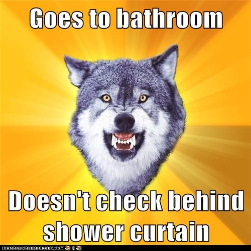 bathroom courage Courage Wolf murderers shower curtain wolves - 5651752960