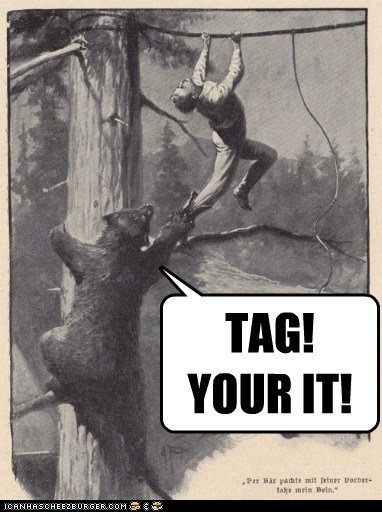 bear,historic lols,playing tag,tag,vintage,youre-it