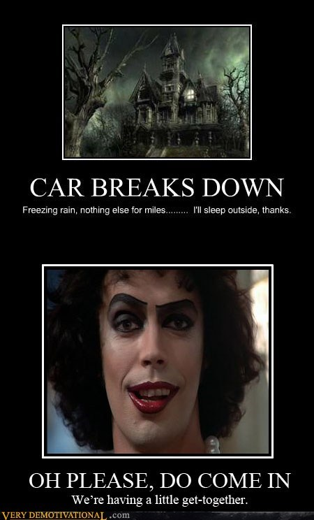 breaks down,car,hilarious,Rocky Horror Picture Show,scary