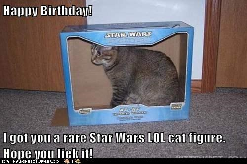 grey cat sitting inside empty blue star wars box happy birthday meme