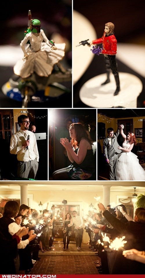 bride funny wedding photos geek groom Star Trek star wars - 5652884992
