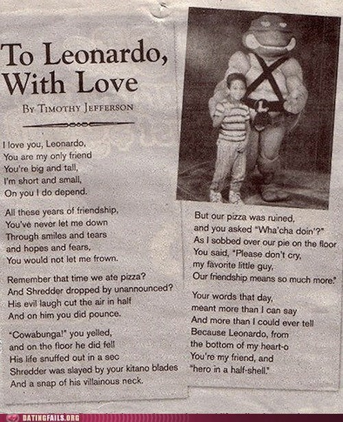 leonardo,love poems,TMNT,turtles