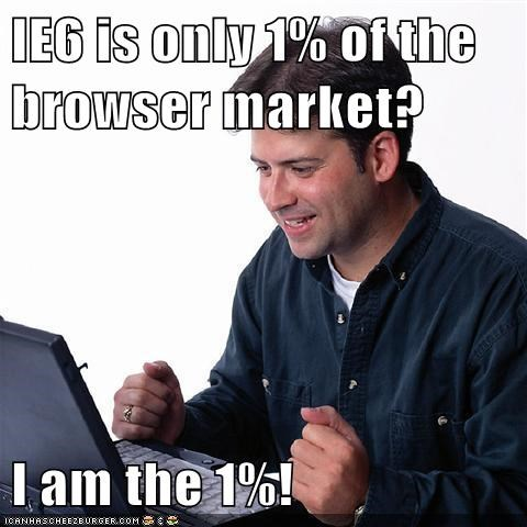 IE6 is only 1% of the browser market? I am the 1%!