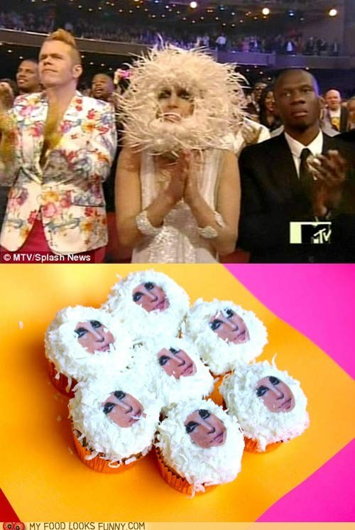 coconut,crazy,cupcakes,face,hat,lady gaga