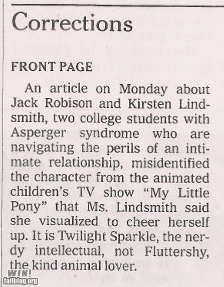 correction memes IRL mistake my little pony newspaper