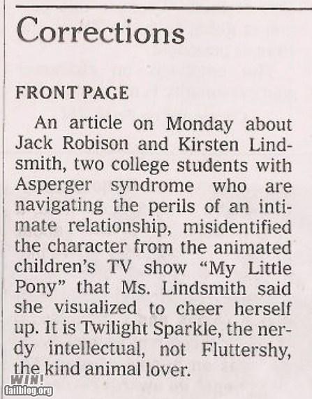 correction memes IRL mistake my little pony newspaper - 5653956352