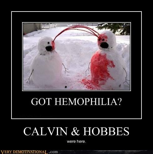 bloody,calvin-hobbes,hilarious,snowmen