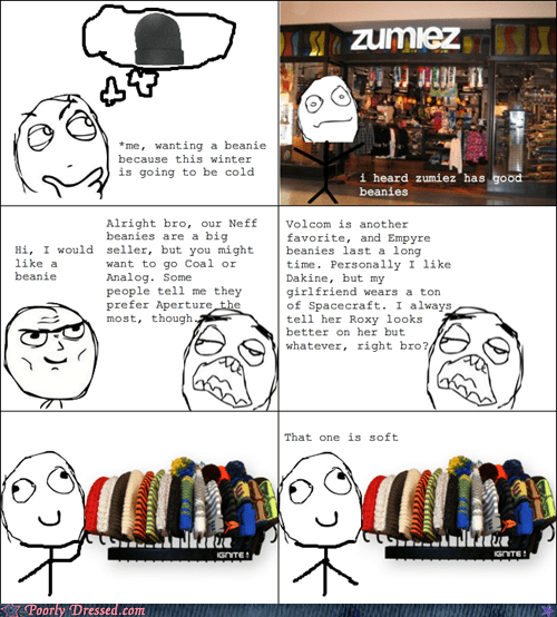 beanies,rage comic,shopping,zumiez