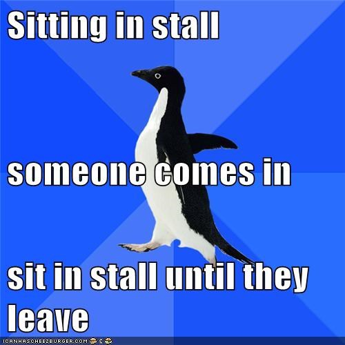 penguin,socially awkward penguin,stall,wtf