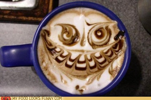 art coffee drawing face foam latte scary - 5654375424