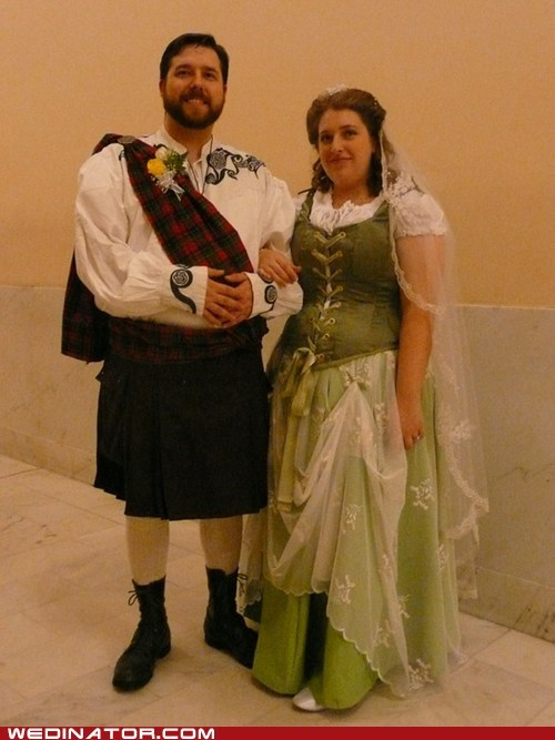 bride,funny wedding photos,groom,kilt,scotland,scottish