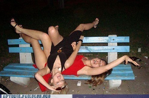acrobatics bench drunk outside passed out woo girls