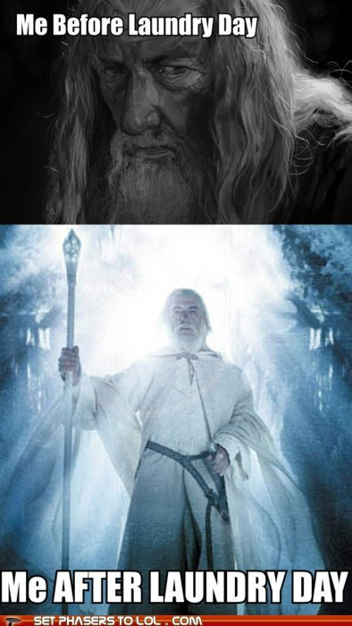 gandalf,gandalf the white,ian mckellan,laundry,Lord of the Rings