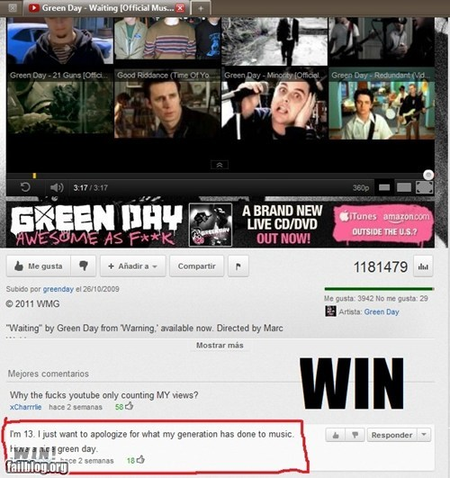 apology,clever,comment,green day,kids these days,Music,youtube