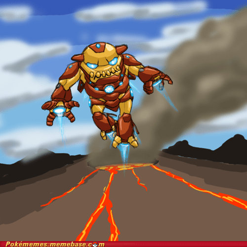 art,crossover,heatran,iron man,stark mountain
