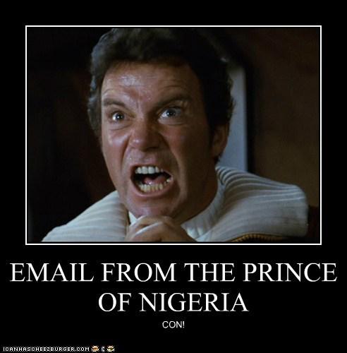 con email khaaaaan nigerian prince prince scam Shatnerday Star Trek William Shatner - 5657848576
