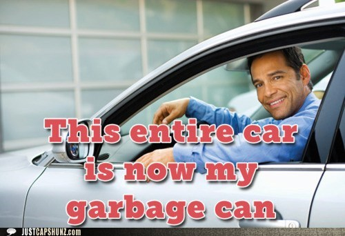 car,garbage,garbage can,gross,messy,random guy,vehicle