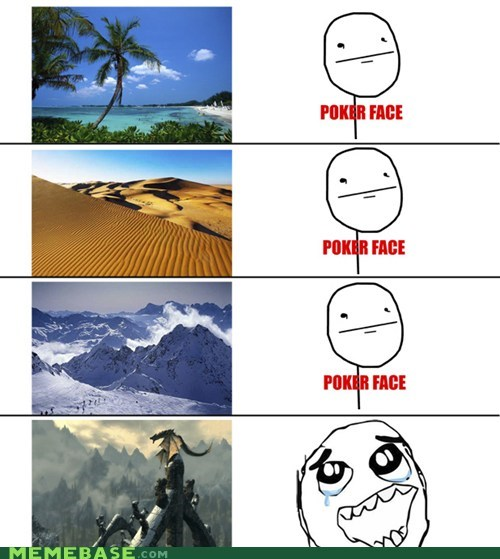 landscape,poker face,Rage Comics,Skyrim,video games