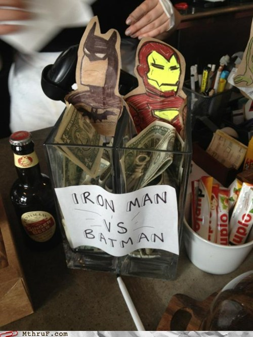 batman,clever tips,ironman,money,tip jars
