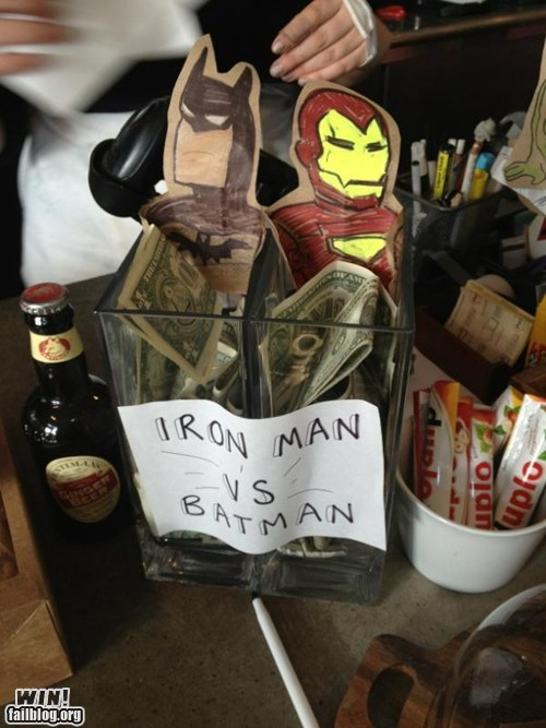 batman,competition,iron man,restaurant,super heroes,tips
