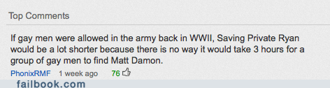 facebook failbook gay g rated matt damon saving private ryan win WWII