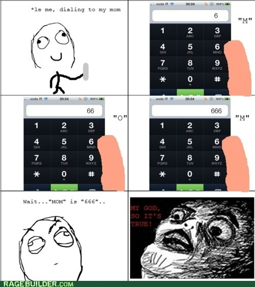 666 letters mom phone number Rage Comics raisin face - 5658539264