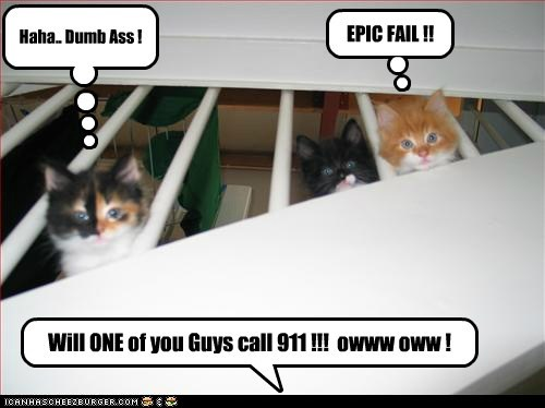 Will ONE of you Guys call 911 !!! owww oww ! EPIC FAIL !! Haha.. Dumb Ass !