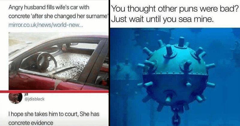 funny puns and memes, pun memes, bad jokes.