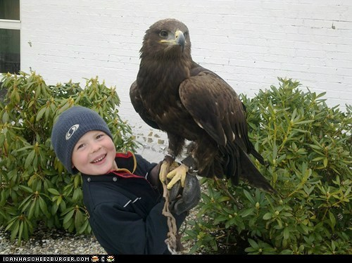 Boy with his golden eagle... A fine pic...
