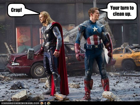avengers captain america chris evans chris hemsworth clean up crap Thor - 5661755136