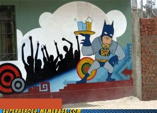 Awesome Art bar batman graffiti waiter