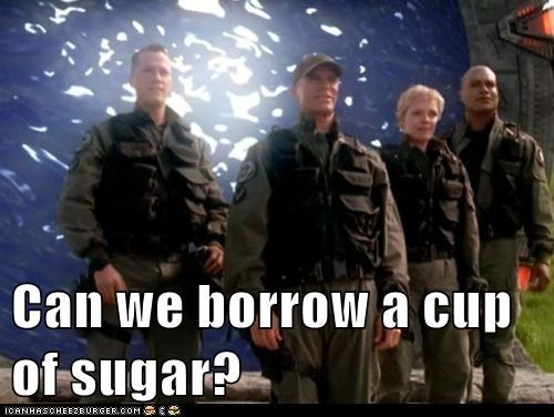 borrow christopher judge cup of sugar jack-oneil Richard Dean Anderson samantha carter sg1 Stargate tealc