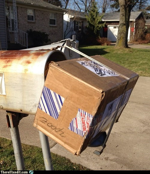 DIY g rated mail box Professional At Work rubber band there I fixed it usps