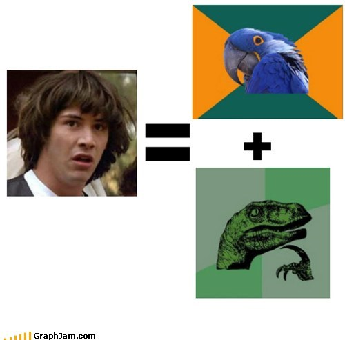 best of week conspiracy keanu equation meme Paranoid Parrot philosoraptor