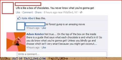 anti joke chicken,chocolates,facebook,Forrest Gump