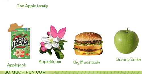 apple,applebloom,applejack,apples,double meaning,family,granny smith,kinds,literalism,macintosh,variety