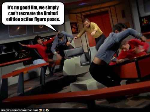 action figures,Captain Kirk,Leonard Nimoy,poses,Shatnerday,Spock,Star Trek,uhura,William Shatner