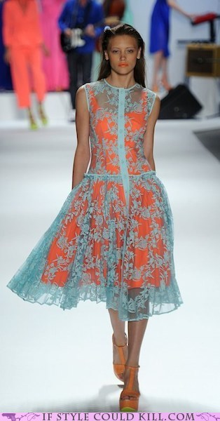 cool accessories,dress,lace,orange,runway