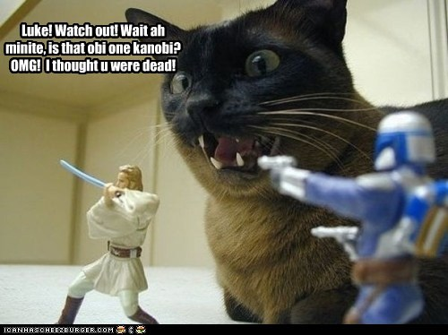 Luke! Watch out! Wait ah minite, is that obi one kanobi? OMG! I thought u were dead! Cleverness Here Cleverness Here