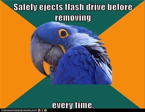 Safely ejects flash drive before removing every time.